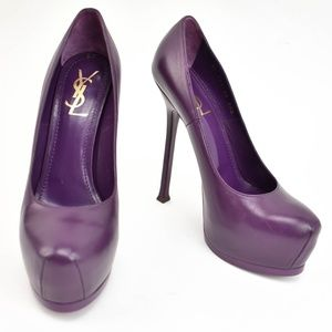"YSL ""Tribtoo"" Plum Leather Platform Pumps"